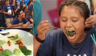 Para ganar un viaje de promoción a Cancún el reto de  la menor de edad era comer cucarachas